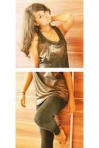 bronze Reiss top - black Primark leggings - gold Mango wedges