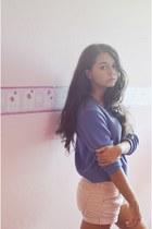 light purple H&M sweater - light pink Mango shorts