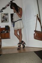 white Zara dress - black H&M shoes - blue vintage scarf - blue asos bag