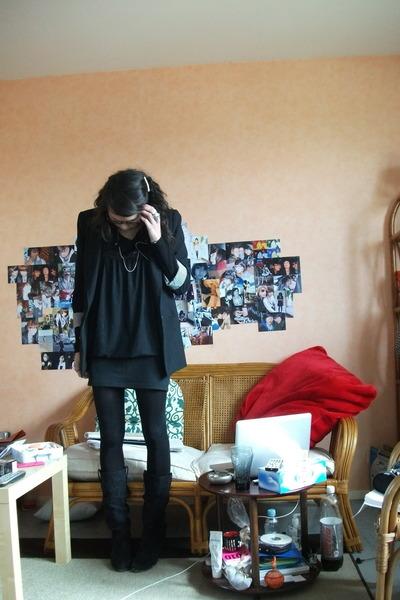 black Zara blazer - black H&M dress - black thrifted skirt - Zara boots - black