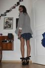 Silver-zara-blazer-black-h-m-shoes-blue-vintage-dress