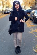 black OASAP boots - black Tally Weijl hat - black New Yorker top - tan H&M pants