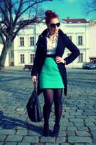 black Mango coat - white H&M shirt - black Zara bag - aquamarine H&M skirt