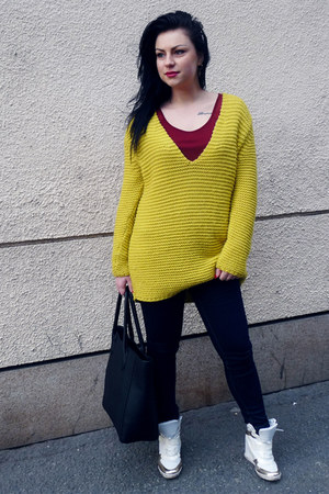 mustard Zara sweater - black H&M bag - brick red lindex top