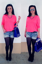 navy OASAP boots - black OASAP bag - violet hm shorts - hot pink hm top