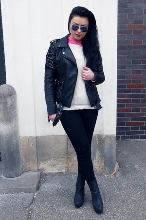 black Tally Weijl jacket - white Tally Weijl sweater - hot pink lindex shirt
