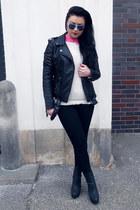 black Tally Weijl jacket - white Tally Weijl sweater - hot pink lindex shirt