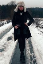 black Mango coat - black H&M sweater - black Tally Weijl wedges
