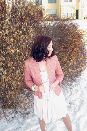 pink Express jacket - pink Max Rave dress - pink Wet Seal necklace - white 579 b