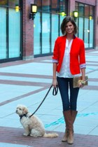 JCrew blazer - JCrew boots - Gap jeans - H&M blouse