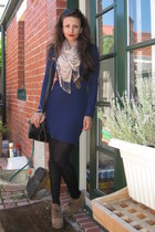 camel crepe Carvela boots - navy knit Mink Pink dress - nude silk Witchery scarf
