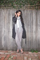 white Sportsgirl shirt - pants - black Oxford jacket - gray Country Road scarf -