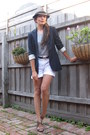 Brown-fedora-hat-theory-blazer-saba-shorts-armani-exchange-belt-woven-le