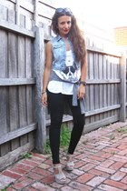 skull t-shirt - pu panel Topshop leggings - denim Topshop vest