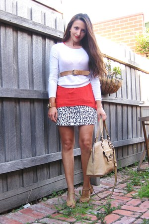 bedrock leopard Ruby skirt - carrot orange silk dipped hem Sportsgirl top