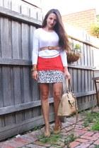 bedrock leopard Ruby skirt - carrot orange silk dipped hem Sportsgirl top