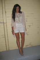 pink Witchery blouse - white Cue top - white Saba shorts - pink handmade by me n