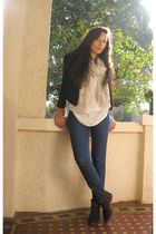 white Sportsgirl shirt - Levis jeans - brown Pied A Terre boots - Witchery scarf