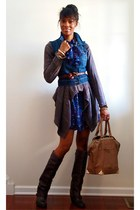 blue denim Old Navy vest - dark brown Mia boots - blue Forever 21 dress