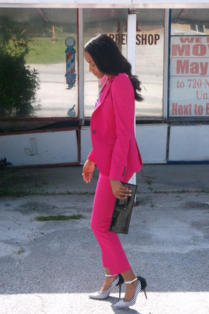 hot pink Zara blazer - hot pink Zara pants - pointed toe Aldo pumps