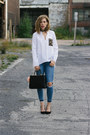 Blue-ripped-garage-jeans-black-structured-h-m-purse