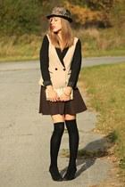 black ankle Michael Kors boots - black floral fedora Target hat