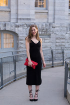 black midi Forever 21 dress - red Old Navy purse - black lace up Payless heels