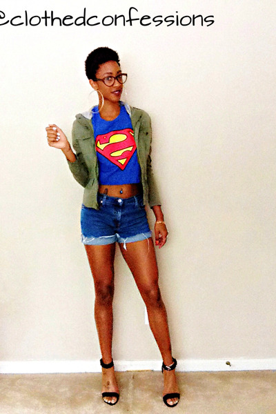 diy shirt - jacket - diy shorts - ankle strap heels
