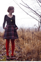 black H&M sweater - black vintage skirt - red modcloth tights - brown seychelles