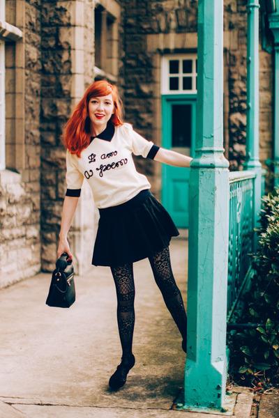 miss patina sweater - Betsey Johnson bag - Sheinside skirt - modcloth heels