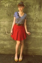 Wet Seal shirt - forever 21 skirt - belt - Kenneth Cole Reaction shoes