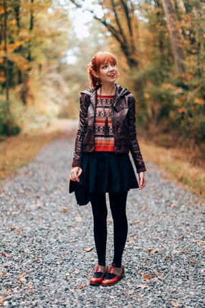 asos sweater - Urban Outfitters jacket - Trendy Legs tights
