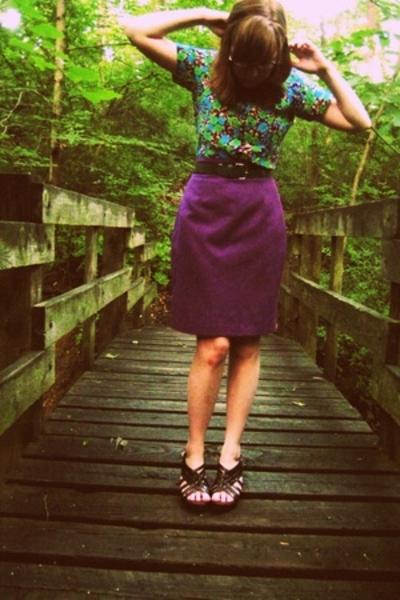 dress - skirt - belt - Dr Scholls shoes