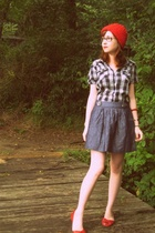 red knit hat - red peeptoe flats Blowfish shoes - blue buffalo plaid dress