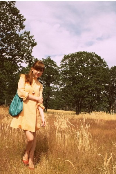 orange vintage dress - red Urban Outfitters shoes - blue Urban Outfitters purse