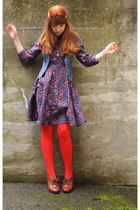 purple H&M dress - red modcloth tights - blue H&M vest - brown seychelles shoes