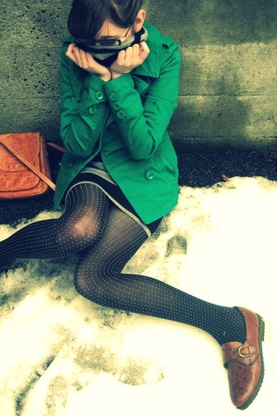 black polka dot Target tights - brown Secondhand shoes - gray stripe Zara dress
