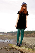 blue vintage hat - black vintage dress - green We Love Colors tights - black Blo