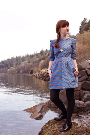 blue neneee dress - black H&M tights - black Bloch shoes
