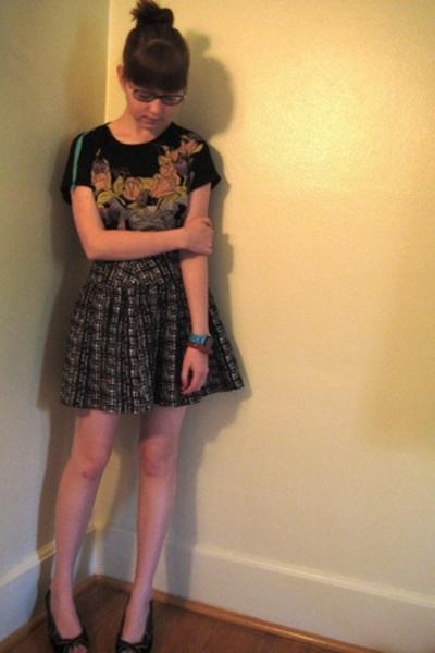 shirt - forever 21 skirt - seychelles shoes