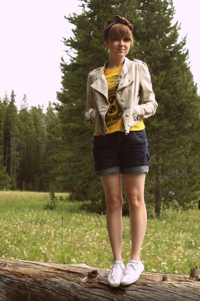 beige Urban Outfitters jacket - white H&M shoes - yellow Thank You Mart shirt