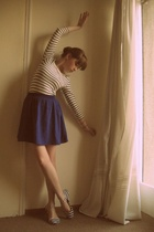 blue Forever 21 skirt - white striped flats Urban Outfitters shoes