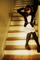 H&M sweater - vintage dress - Secondhand belt - Target tights - Secondhand shoes