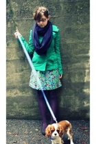 American Apparelcan Apparel scarf - H&M coat - vintage dress - Target stockings