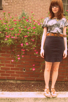 Urban Outfitters shirt - American Apparel skirt - shoes - belt