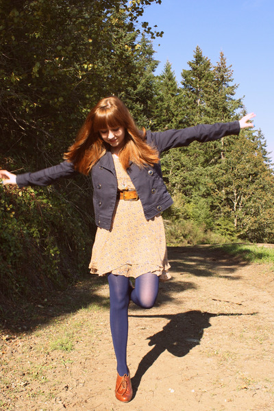 beige modcloth dress - brown seychelles shoes - blue H&M jacket