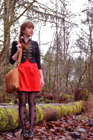 black H&M jacket - red French Connection - black Street Vendor tights - black Bl