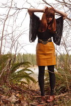 black Old Gold Boutique shirt - black UO belt - gold Secondhand skirt - black H&