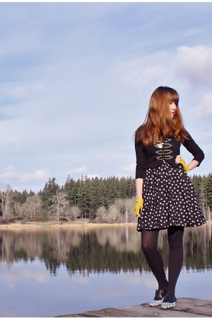 black H&M jacket - black H&M dress - yellow Karmaloop gloves - black Walmart tig