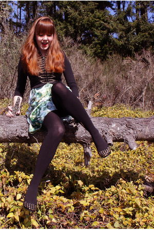 black H&M jacket - green H&M dress - black cynthia rowley tights - black Jeffrey